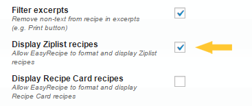 Display Ziplist recipes in EasyRecipe